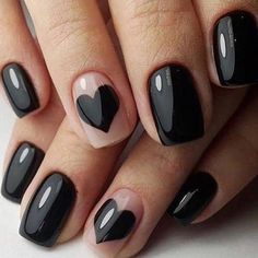 Ideias de unhas decoradas, unhas decoradas simples e lindas, unhas pretas decoradas, unhas Black Acrylic Nails, Black Nail Art, Red Nail, Acrylic Nails 2017, Black Nails Short, Acrylic Gel, Black Polish, Valentine's Day Nail Designs, Acrylic Nail Designs