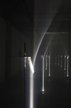 Design studio Troika used Fresnel lenses to create an arcade from beams of light that appear to curve at the Interieur design biennale in Kortrijk, Belgium. Interior Lighting, Lighting Design, Ecole Design, Design Design, Modern Design, Blitz Design, Light And Space, Light Beam, Luminaire Design