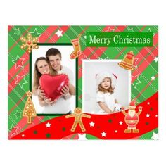 Photo collage Christmas gingerbread Postcard - christmas cards merry xmas family party holidays cyo diy greeting card