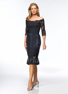 Mother of the Bride Dresses - $138.09 - Sheath/Column Off-the-Shoulder Tea-Length Lace Mother of the Bride Dress With Ruffle (0085055932)