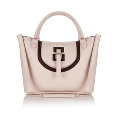 meli melo Halo Medium Tote Bag (€720) ❤ liked on Polyvore featuring bags, handbags, tote bags, pink, leather handbags, genuine leather tote, metallic leather tote, pink handbags and medium leather tote