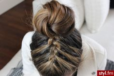 Braid and bun.  I would love this with a pony tail