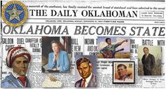 On this day in 1907, formed by the combination of Oklahoma Territory and Indian Territory, Oklahoma was the 46th state to enter the Union.    The name Oklahoma comes from the Choctaw phrase okla humma, literally meaning red people. Equivalent to the English word Indian, okla humma was a phrase in the Choctaw language used to describe the Native American race as a whole. Oklahoma later became the de facto name for Oklahoma Territory, and it was officially approved in 1890.