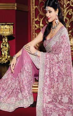 Indian Bridal Sarees Crepe georgette Pink