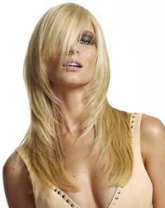 A long blonde straight feathered choppy Modern Layered hairstyle by Web Collections