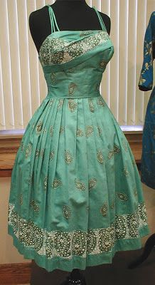1950's Alfred Shaheen Border Print Dress