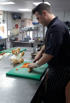 Helping chef in the kitchen