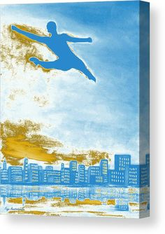 Canvas Print, silhouette,figure,dancer,ballet,form,shape,leaping,jumping,flying,dreamscapes,man,male,masculine,guy,solo,lone,single,unbounded,unfettered,dynamic,powerful,skyscapes,freedom,figurative,motion,movement,celestial,sky,clouds,city,contemporary,modern,surreal,fantasy,light,blue,azure,white,golden,high,artistic,unique,imagination,decor,in,at,up,and,above,over,of,for,the,fine,art,oil,painting,artworks,products,items,for sale,online,fine art america