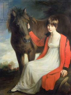 Portrait of Miss Emily Beauchamp with her Pony, by John Opie.  It's a little hard to tell for sure, but it looks as if this girl has her hair cut very short.  Although not common, short hair for women was quite the avant-garde style around the turn of the 19th century.