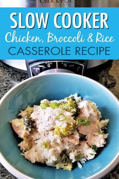Enjoy this slow cooker chicken broccoli and rice casserole recipe on your dairy free diet. It takes just minutes to prep in your crock pot so it's easy to add to your weekly crockpot chicken meal plan for easy weeknight meals. Delicious Crockpot Recipes, Crockpot Chicken Healthy, Slow Cooker Chicken, Slow Cooker Recipes, Beef Recipes, Crockpot Meals, Freezer Meals, Yummy Recipes, Broccoli Rice