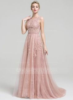 A-Line/Princess Scoop Neck Court Train Beading Zipper Up Regular Straps Sleeveless No Other Colors Spring Summer Fall General Plus Tulle Lace Height:5.7ft Bust:33in Waist:24in Hips:34in US 2 / UK 6 / EU 32 Evening Dress