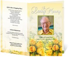 A lovely golden yellow bouquet sits beautifully on the front cover amidst a soft gradient background on our DIY funeral program template design. Templates Printable Free, Card Templates, Free Printables, Memorial Cards, Funeral Memorial, Funeral Program Template Free, Order Of Service Template, Funeral Order Of Service, Funeral Floral Arrangements
