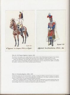 Army of Egypt: Plate 40: 15th Dragoon Regiment, Captain, 1800. + Plate 41: Dromedary Regiment, Officer, 1800.