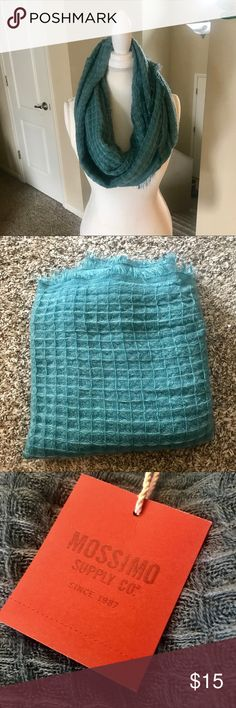 Teal Knit Fringe Infinity Scarf 🌿condition: brand new with tags 🌿wear?: none  🌿style: infinity 🌿colors: teal 🌿design: knit with fringe 🌿brand: Mossimo Supply Co. 🌿material: 100% acrylic  🌿super soft Mossimo Supply Co Accessories Scarves & Wraps