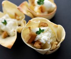 Easy Appetizers: Baked Wonton Cups  with goat cheese, fig jam, walnuts and thyme