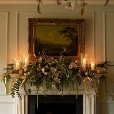 Looking for Christmas mantelpiece inspiration? Make your fireplace stand out this festive period with these mantelpiece decorating ideas Christmas Mantels, Noel Christmas, Country Christmas, Christmas Wreaths, Christmas Mantle Decorations, Christmas Fireplace Garland, Christmas Displays, Christmas Flowers, Christmas Colors