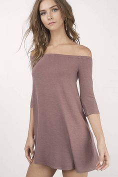 Off The Shoulder Dresses, Tobi, Mauve Olly Off Shoulder Shift Dress