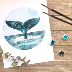 Watercolor Whale, Watercolor Illustration, Sketch Painting, Watercolor Paintings, Pottery Painting Designs, Whale Art, Animal Paintings, Art Inspo, Art Drawings