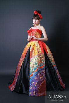 和ドレス 着物ドレス 赤・紺・紫・黄他のAライン