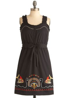 Island Carnival Dress - Short, Casual, Black, Solid, Embroidery, Sheath / Shift, Tank top (2 thick straps), Multi, Red, Orange, Yellow, Grey, Buttons, Ruffles, Nautical, Mini