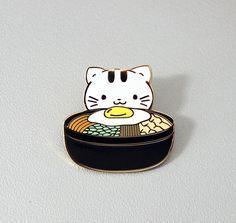 Kittenbap Enamel Pin, Lapel Pin, bibimbap, food, cute kitty, cat, souvenir, brooch, jewelry, kawaii, korean, egg gift