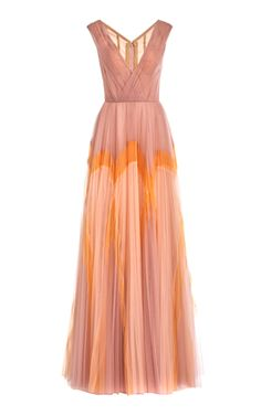 Lace-Accented Gradient Chiffon Gown by Naeem Khan | Moda Operandi Tulle Gown, Chiffon Gown, Ruched Dress, Flare Dress, Dress Up, Prom Dresses, Formal Dresses, Long Dresses, Pretty Dresses