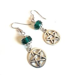 Green Crystal Pentacle Earrings Pentacle by DCArtandPhotography