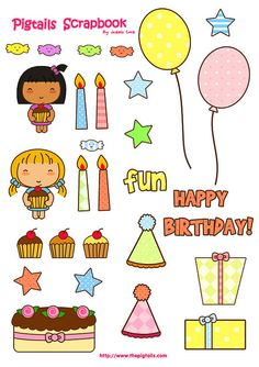FREE printable Happy-Birthday sticker: pigtails_scrapbook_bday by thepigtails, via Flickr