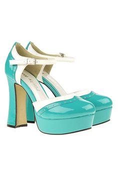 Chunky High Heel Green Sandal
