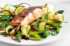Fresh herbs add a huge dose of flavour to the salmon, with negligible kilojoules and no fat. Fish Recipes, Seafood Recipes, Salad Recipes, Cooking Recipes, Healthy Recipes, Raw Recipes, Healthy Meals, Healthy Food, Recipies