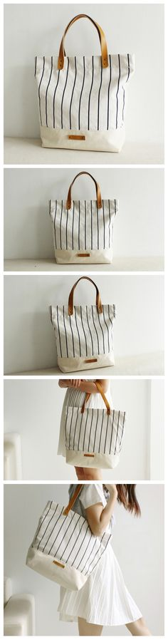 Canvas and Leather Tote Bag Shopper Bag School Bag Daily Bag for Women