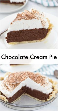 This chocolate cream pie recipe is going to be your go-to recipe for anything creamy, decadent and delicious in the form of a pie! Silky, classic chocolate cream pie recipe is a must have for any summer gathering Chocolate Crack, Chocolate Pie Recipes, Vegetarian Chocolate, Chocolate Desserts, Chocolate Cream Pies, Chocolate Mousse Pie, Homemade Chocolate Pie, Chocolate Roulade, Chocolate Smoothies