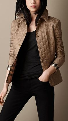 Burberry Pale Fawn Diamond Quilted Jacket - A lightweight jacket crafted in diamond quilt. The heritage-inspired jacket features epaulettes, a throat latch and hook-and-eye neck closure. Discover the women's outerwear collection at Burberry.com