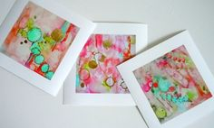 Pink Abstract  Watercolor Prints  Set of 3 by LimezinniasDesign