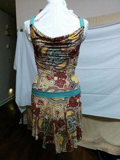 BUY IT NOW! Baby Phat Size S Halter Sundress Skater Skirt Drape Neck Bare Back Silky Stretch  | eBay