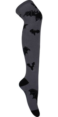 Product Details Spooky! These gray over the knee socks have black bats up and down the leg and have a black heel and toe. For: Women Sizing Information: One Size Fits All Style: Over the Knee Primary
