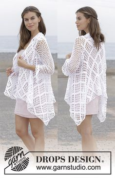 White Shore / DROPS - Free crochet patterns by DROPS Design - Crochet jacket with lace pattern, worked in a square from mid back outwards. Sizes S – XXXL. Crochet Shrug Pattern Free, Crochet Cardigan Pattern, Crochet Shawl, Knitting Patterns Free, Free Knitting, Free Crochet, Crochet Summer, Free Pattern