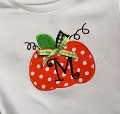 Plump pumpkin with or without bow. Shirt by SimplieGirlieDesigns