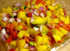 Mango-Red Pepper Salsa  Yum. I love this kind of recipe where you can still make it if you are missing an ingredient (happens to me all the time) AND you can pretty much toss in anything you do have on hand.