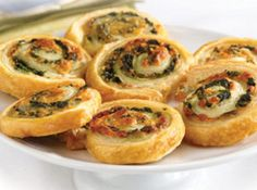 Spinach-Cheese Swirls;I've done this with regular tortilla pin-wheel rolls...but these look good.