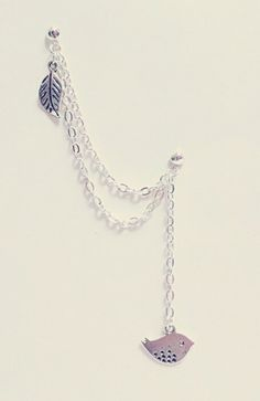 Can't wait to change my new piercing to this! Bird & Leaf Chain Cuff/Cartilage Earrings by SimplyyCharming, $7.50