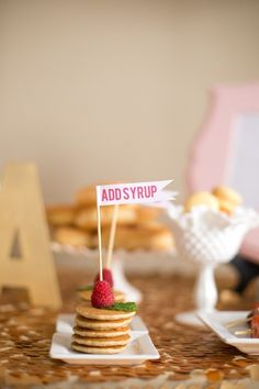 "mini pancakes ""add syrup"" label for pancakes and pajamas party"