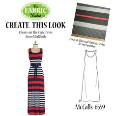 Create This Look – Coral & Charcoal Various Stripe Jersey/Spandex | The Fabric Market