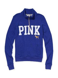 VS Pink Half-zip Pullover. These are my favorite, they've totally replaced hoodies as my go-to look.