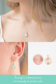 Peach Champagne / Gold Necklace and Earrings Set by ForTheMaids