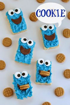 Hungry Happenings: Cookie Monster Rice Krispies Treats