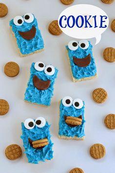 Hungry Happenings: Cookie Monster Rice Krispies Treats