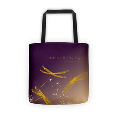 DRAGONFLY tote. Whimsical dragonfly design. Visit boesarts.com and see other totes