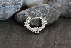 Flower Septum Ring, Crystal Septum Jewelry, Silver Nipple Rings, Rook Earring, Nipple Jewelry, Daith Piercing,Daith Earring, Bridge Piercing