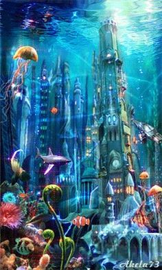 City under the sea. Underwater Art, Sea And Ocean, Underwater City, Fantasy Art, Underwater, Fantasy Art Landscapes, City Under The Sea, Art, Scenery